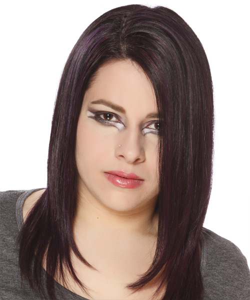 Long Straight Casual Hairstyle - Dark Brunette (Plum) Hair Color
