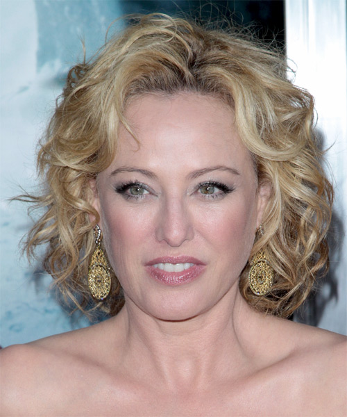 Virginia Madsen Medium Curly Casual Hairstyle - Light Blonde Hair Color