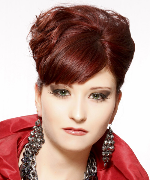 Curly Formal Updo Hairstyle with Side Swept Bangs - Dark Red (Burgundy) Hair Color