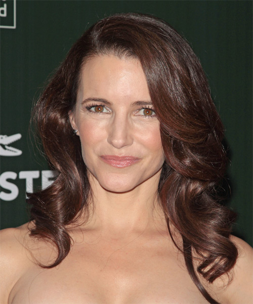 Kristin Davis Long Wavy Formal Hairstyle - Medium Brunette (Chocolate) Hair Color