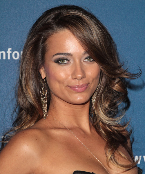 Alicia Hall Long Wavy Formal Hairstyle with Side Swept Bangs - Medium Brunette Hair Color
