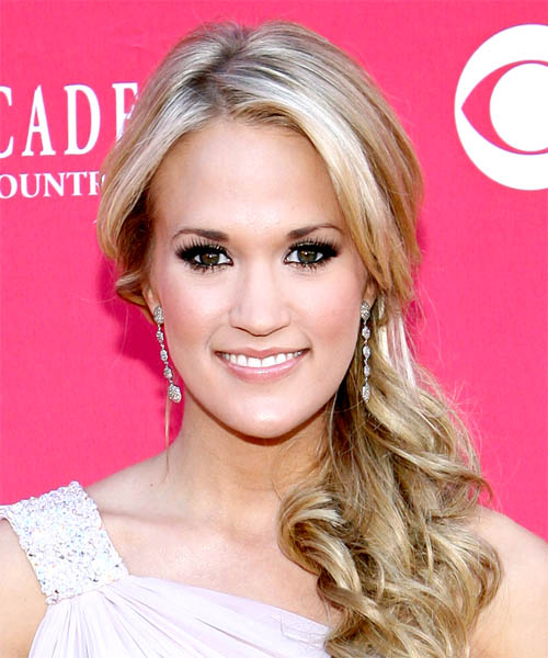 Carrie Underwood Half Up Long Curly Formal Half Up Hairstyle - Medium Blonde (Champagne) Hair Color