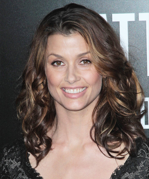 Bridget Moynahan Long Wavy Casual Hairstyle - Dark Brunette Hair Color