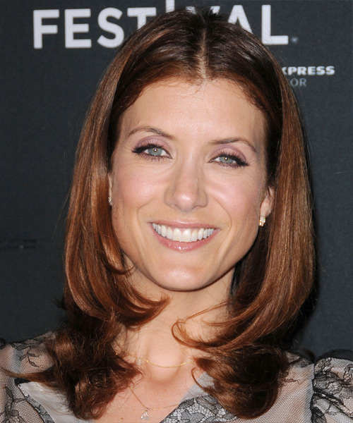 Kate Walsh Medium Straight Formal Hairstyle - Dark Red Hair Color