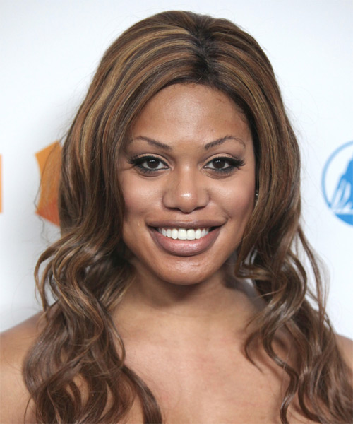Laverne Cox Long Wavy Hairstyle - Dark Brunette