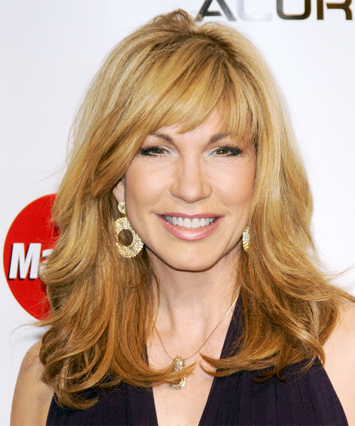 Leeza Gibbons Long Straight Casual Hairstyle with Side Swept Bangs - Medium Blonde (Golden) Hair Color