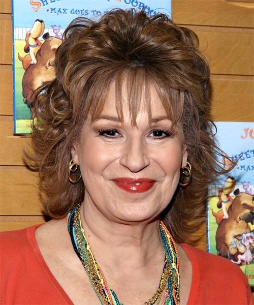 Joy Behar Medium Wavy Formal Hairstyle with Layered Bangs - Medium Brunette (Chestnut) Hair Color
