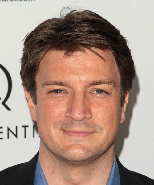 Nathan Fillion Short Straight Casual Hairstyle - Medium Brunette (Caramel) Hair Color