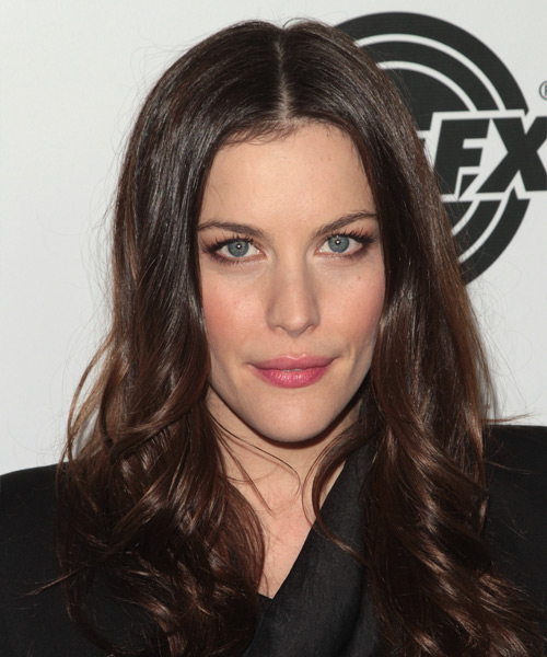 Liv Tyler Long Wavy Formal Hairstyle - Dark Brunette (Mocha) Hair Color