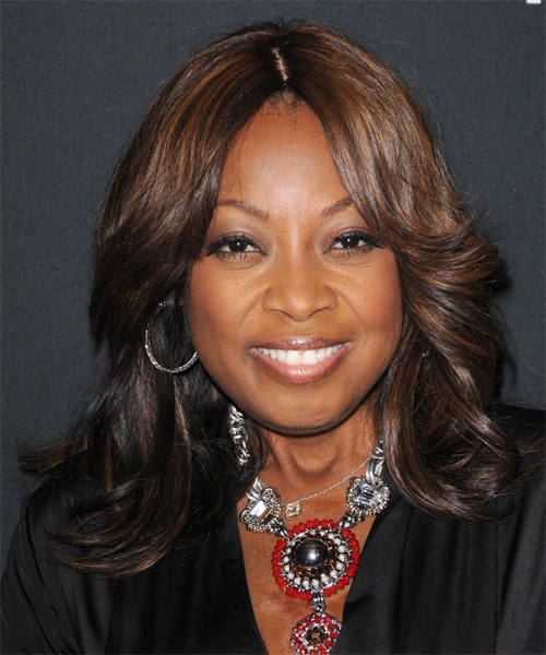 Star Jones Medium Wavy Hairstyle - Dark Brunette