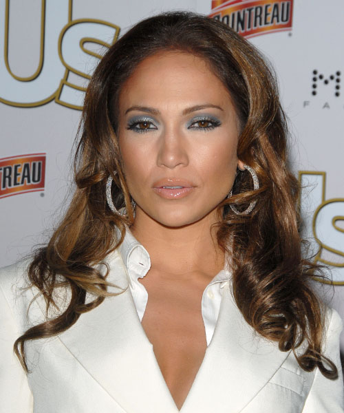 Jennifer Lopez Long Wavy Casual Hairstyle - Medium Brunette Hair Color