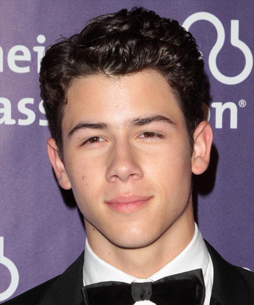 Nick Jonas Short Wavy Formal Hairstyle - Dark Brunette Hair Color