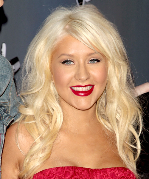 Christina Aguilera Long Wavy Hairstyle - Light Blonde (Golden)