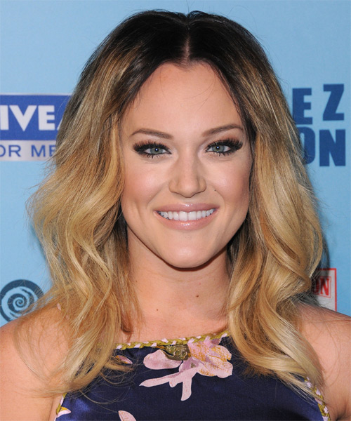 Lacey Schwimmer Long Wavy Casual Hairstyle - Dark Blonde (Copper) Hair Color