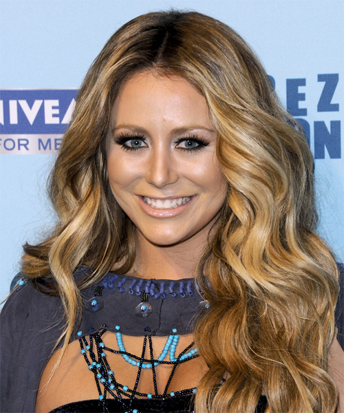 Aubrey O Day Long Wavy Casual Hairstyle - Dark Blonde (Golden) Hair Color