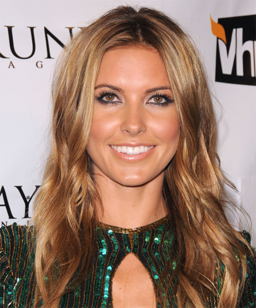 Audrina Partridge Long Wavy Hairstyle - Dark Blonde (Copper)