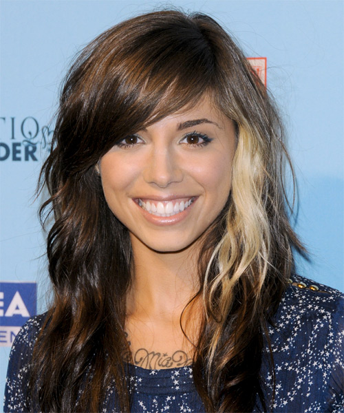 Christina Perri Long Wavy Casual Hairstyle - Medium Brunette Hair Color