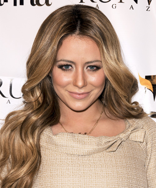Aubrey O Day Long Wavy Hairstyle - Light Brunette (Caramel)