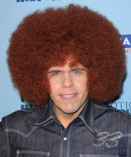 Perez Hilton Medium Curly Afro Hairstyle - Medium Red (Ginger)