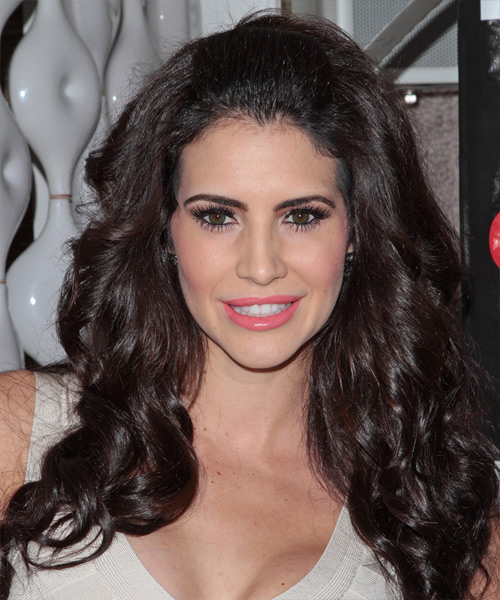 Hope Dworaczyk Long Wavy Formal Hairstyle - Dark Brunette Hair Color
