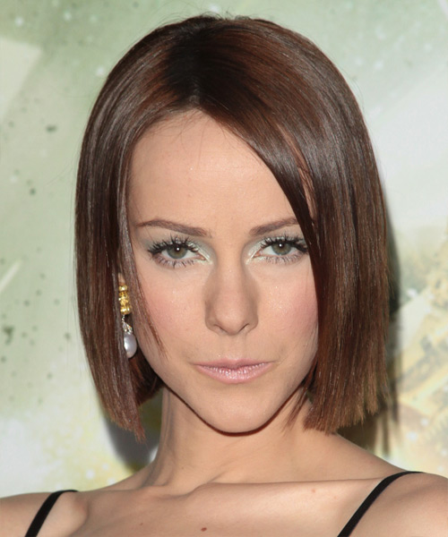 Jena Malone Medium Straight Formal Bob Hairstyle - Dark Brunette (Chocolate) Hair Color