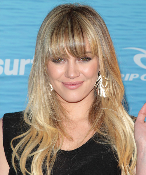 Hilary Duff Long Straight Formal Hairstyle with Blunt Cut Bangs - Medium Blonde (Golden) Hair Color
