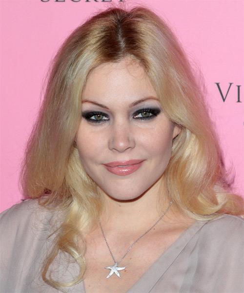 Shanna Moakler Long Wavy Casual Hairstyle - Light Blonde Hair Color