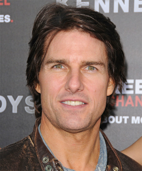 Tom Cruise Short Straight Casual Hairstyle - Dark Brunette Hair Color