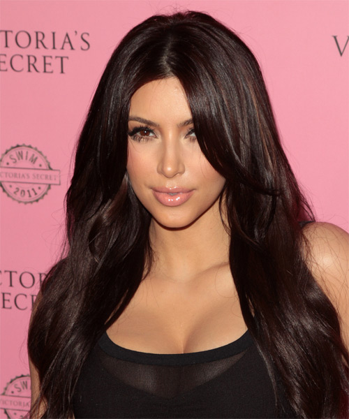 Kim Kardahsian  - Straight  Long Straight Hairstyle - Dark Brunette (Mocha)