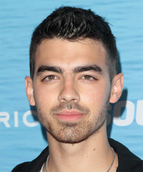 Joe Jonas Short Straight Casual Hairstyle - Dark Brunette Hair Color