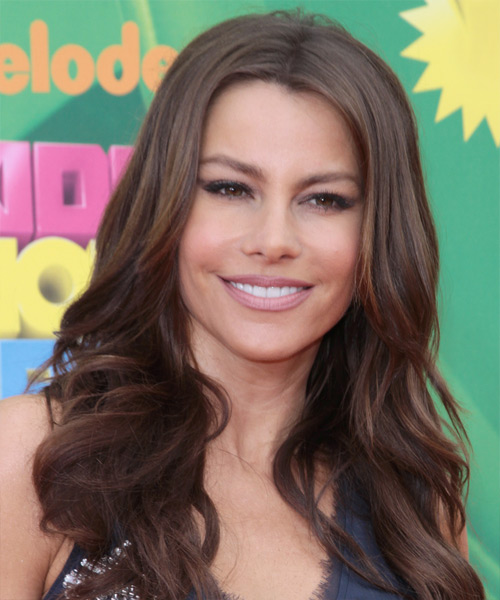 Sofia Vergara Long Wavy Hairstyle - Medium Brunette (Chocolate)