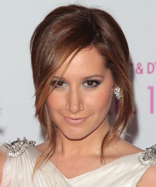Ashley Tisdale Casual Straight Updo Hairstyle - Medium Brunette (Auburn)