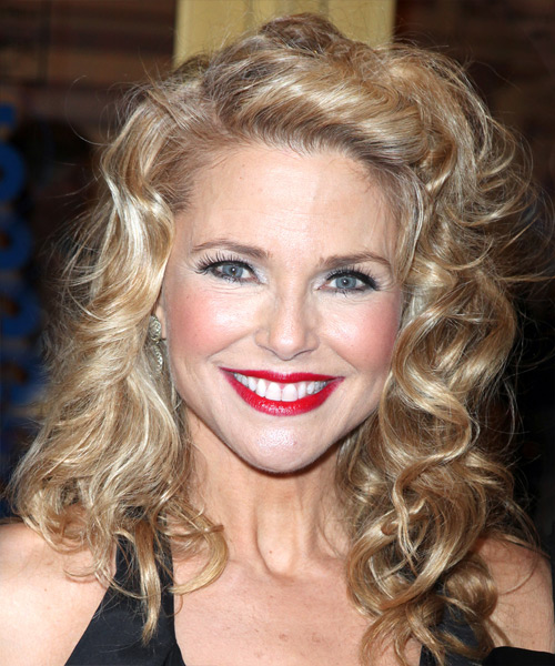 Christie Brinkley Long Curly Formal Hairstyle - Medium Blonde Hair Color