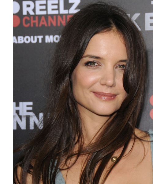 Katie Holmes Long Straight Casual  - Dark Brunette
