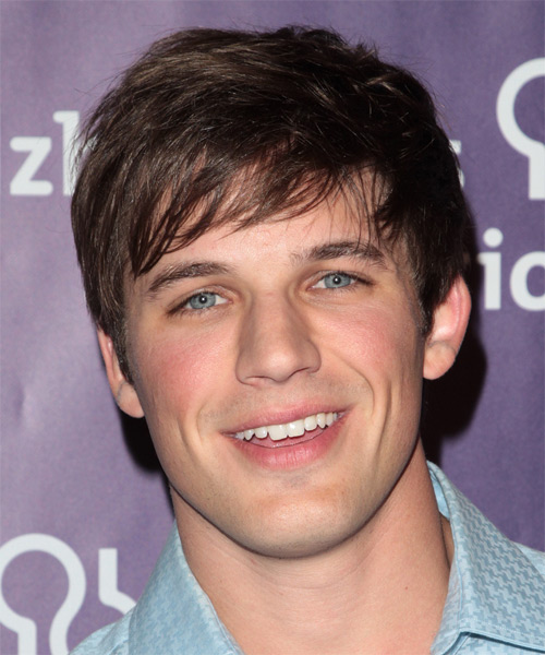 Matt Lanter Short Straight Casual Hairstyle with Side Swept Bangs - Dark Brunette Hair Color