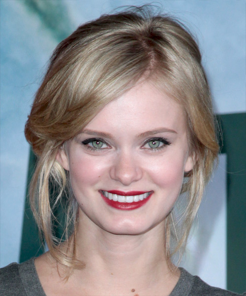 Sara Paxton Updo Long Straight Casual Updo Hairstyle - Dark Blonde Hair Color