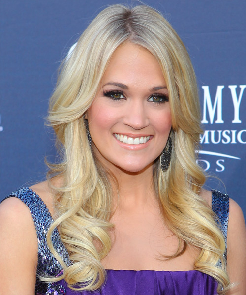 Carrie Underwood Long Wavy Formal Hairstyle Light Blonde