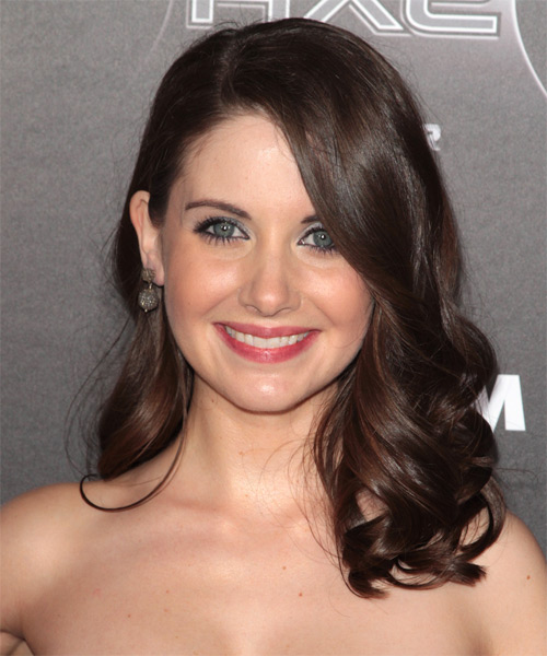 Alison Brie  Medium Wavy Hairstyle - Dark Brunette (Chocolate)