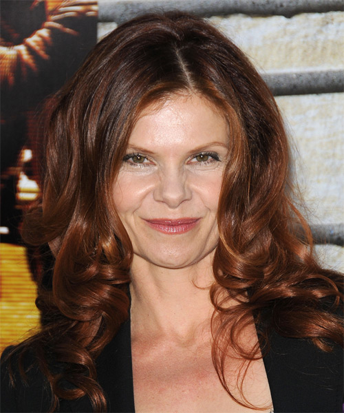 Lolita Davidovich Long Wavy Formal Hairstyle - Medium Brunette Hair Color
