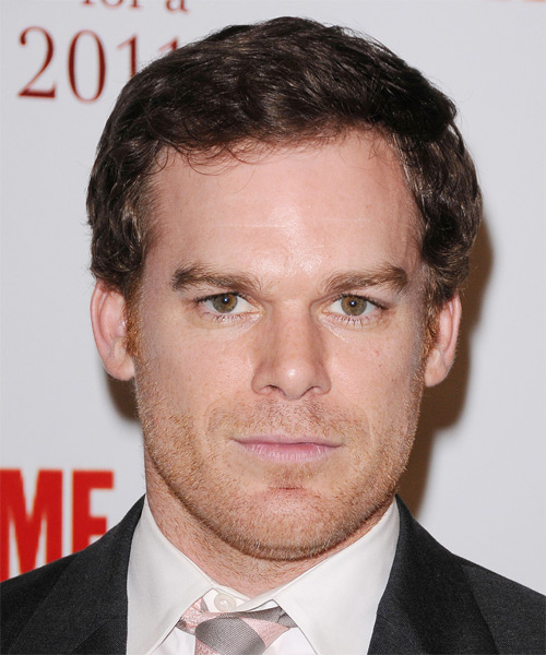 Micheal C Hall Short Wavy Formal Hairstyle - Medium Brunette Hair Color