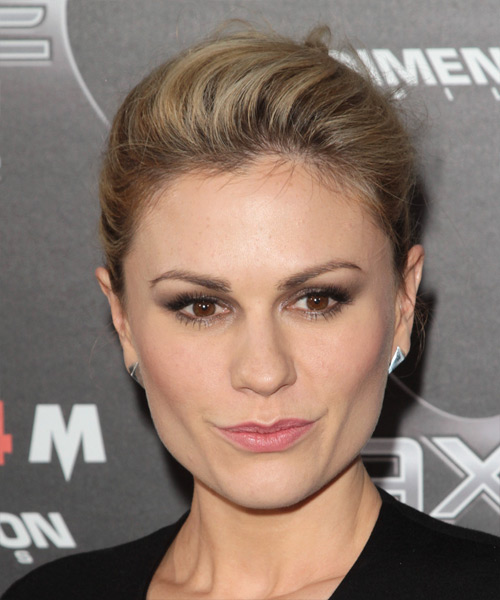 Anna Paquin Casual Straight Updo Hairstyle - Dark Blonde