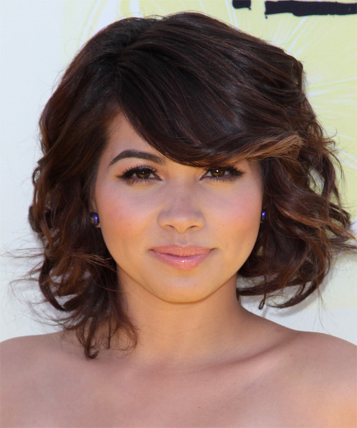 Hayley Kiyoko Medium Wavy Formal  with Side Swept Bangs - Dark Brunette
