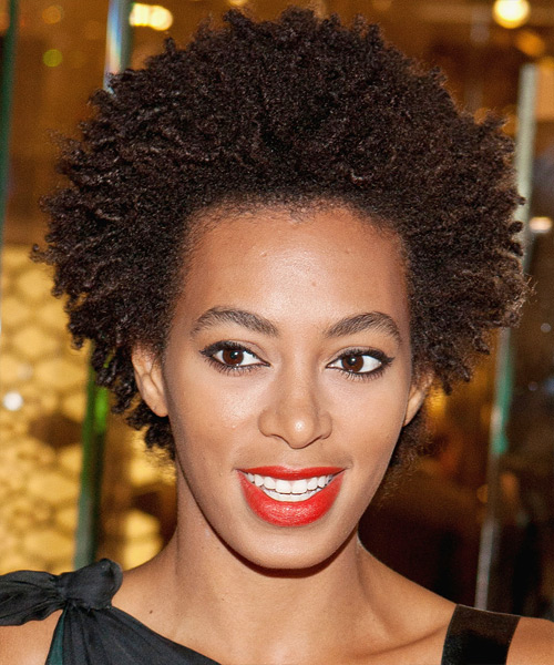 Solange Knowles Short Curly Casual Afro Hairstyle - Dark Brunette (Chocolate) Hair Color