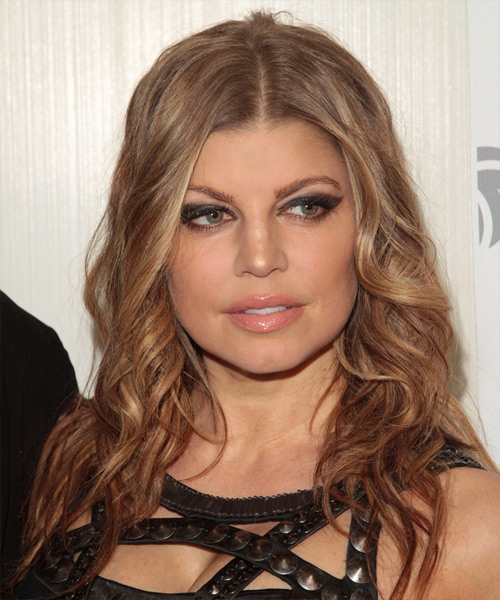 Fergie Long Curly Formal Hairstyle - Dark Blonde Hair Color