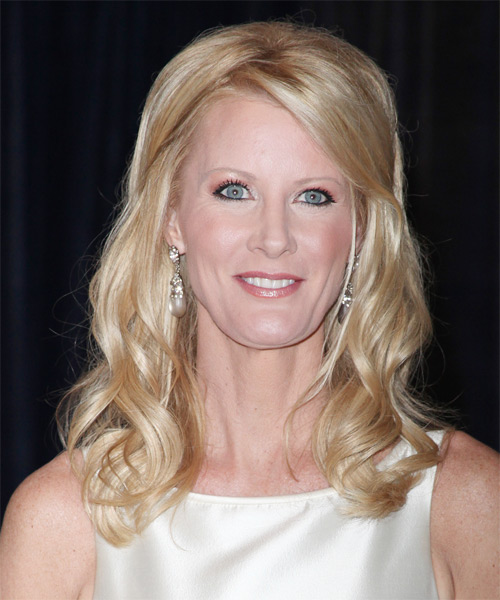 Sandra Lee Long Wavy Formal Hairstyle - Light Blonde Hair Color