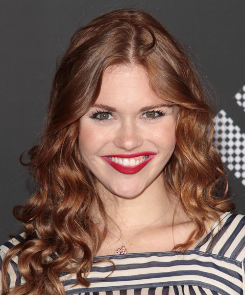 Holland Roden Long Curly Casual Hairstyle - Light Red (Auburn) Hair Color