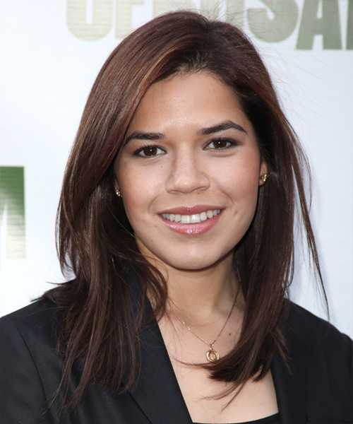 America Ferrera Medium Straight Formal Hairstyle - Medium Brunette Hair Color