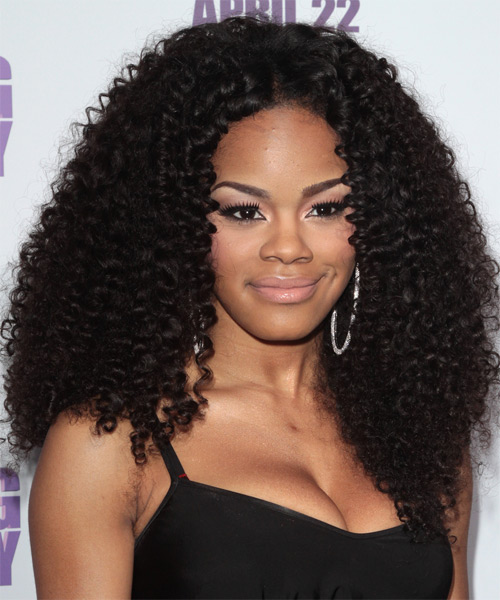 Teyana Taylor Long Curly Casual Afro Hairstyle - Black Hair Color