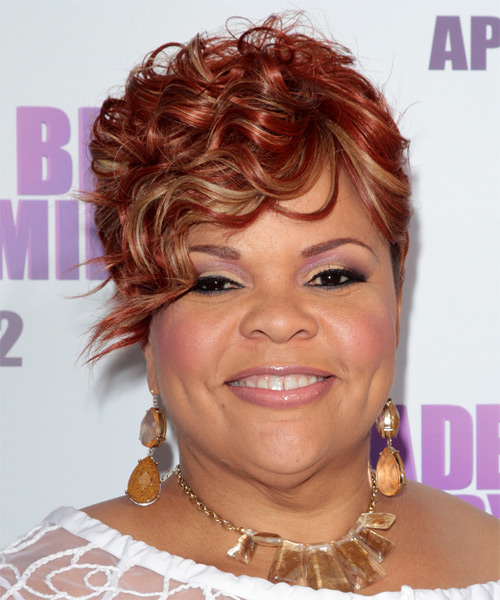 Tamela J. Mann Short Curly Formal Hairstyle with Side Swept Bangs - Medium Red Hair Color