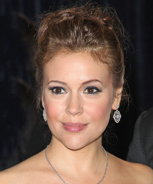Alyssa Milano Formal Curly Updo Hairstyle - Light Brunette